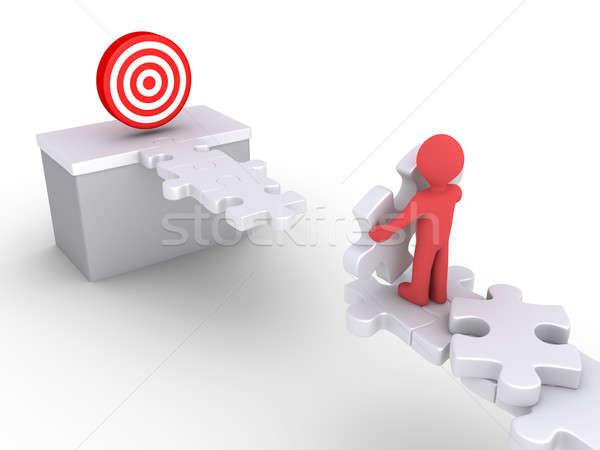Pessoa alcançar alvo pessoa 3d peças do puzzle Foto stock © 6kor3dos