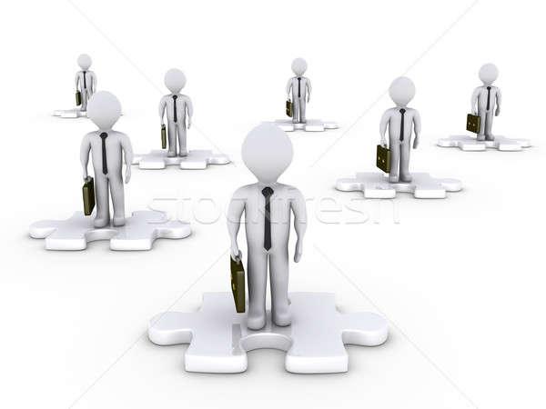 ビジネスマン パズルのピース ポジション 3D 白 ストックフォト © 6kor3dos