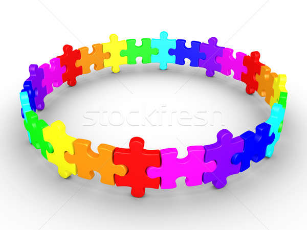 Puzzle pieces connected form a circle Stock photo © 6kor3dos