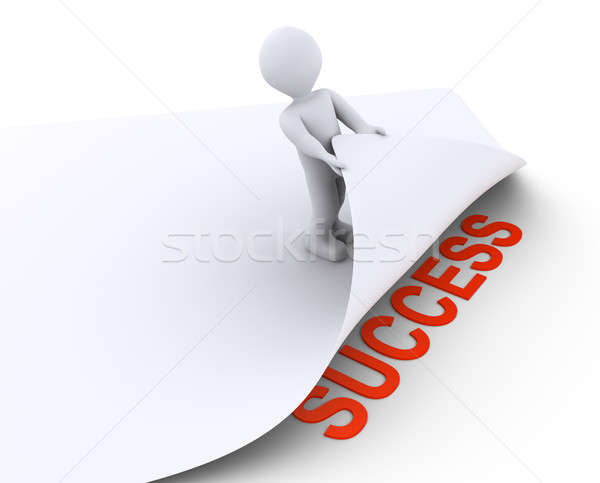 Person discovers the success under a paper Stock photo © 6kor3dos