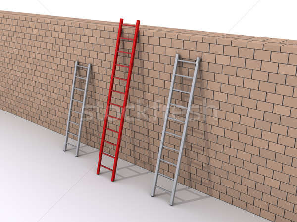 Leadership concept with three ladders Stock photo © 6kor3dos