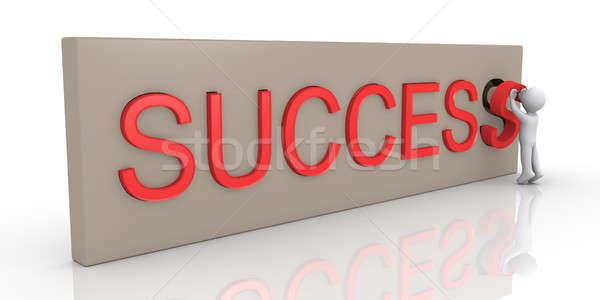 3d kişi başarı kelime son mektup Stok fotoğraf © 6kor3dos