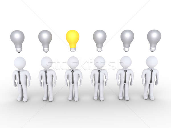Businessman stands out of others with lightbulb Stock photo © 6kor3dos