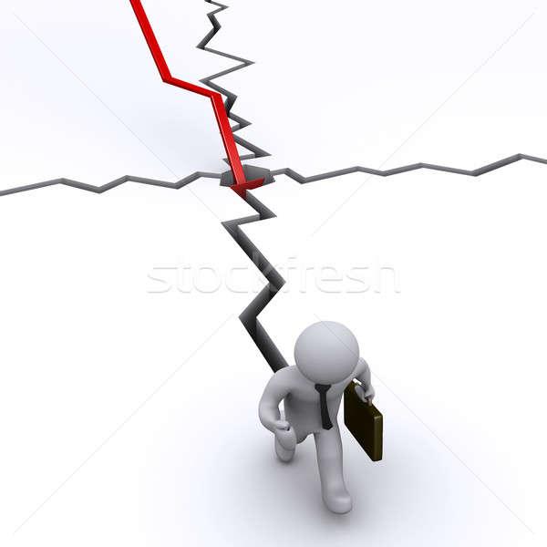 Imagine de stoc: Om · de · afaceri · crăpa · grafic · 3D · funcţionare · departe