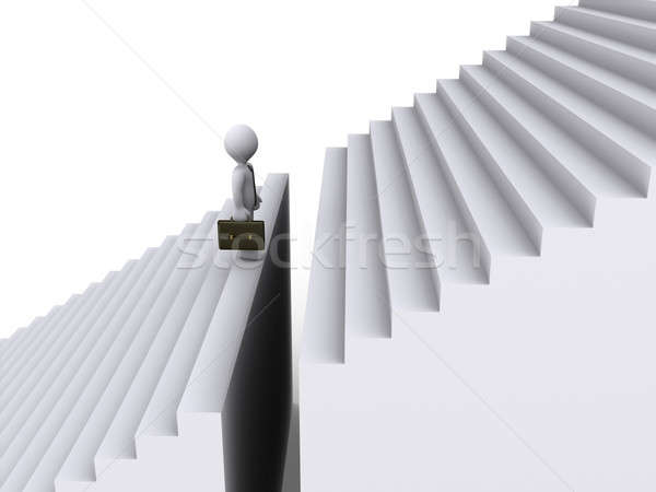 Stock photo: Businessman standing before gap of stairs