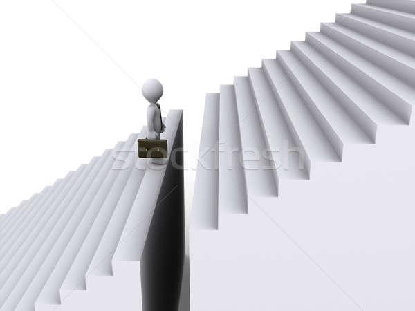 бизнесмен Постоянный разрыв лестницы 3D работу Сток-фото © 6kor3dos