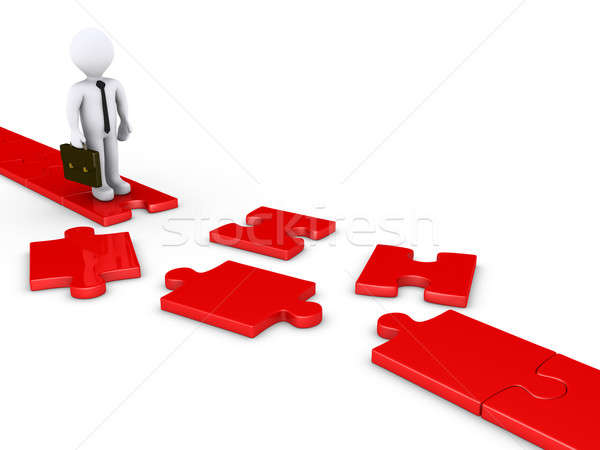 Businessman on damaged puzzle path Stock photo © 6kor3dos