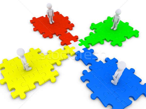 Especial rompecabezas pieza cuatro personas 3D pie Foto stock © 6kor3dos