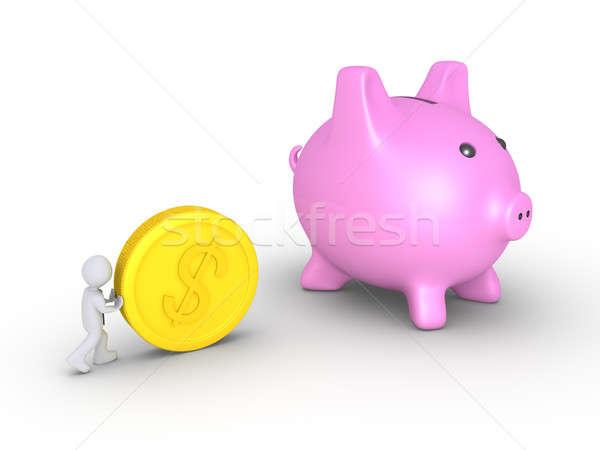 ビジネスマン コイン プッシング ビッグ ドル 豚 ストックフォト © 6kor3dos