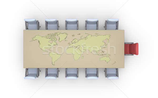 Chairs across table with earth map Stock photo © 6kor3dos