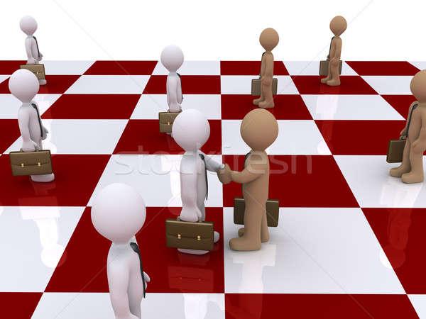 Iki işadamları satranç tahtası el sıkışmak 3D ayakta Stok fotoğraf © 6kor3dos
