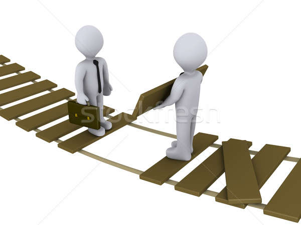 Businessman is helping another to cross a damaged bridge Stock photo © 6kor3dos