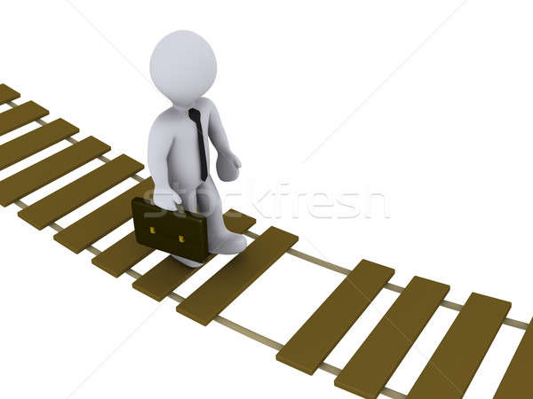 Stock photo: Businessman walking on damaged bridge