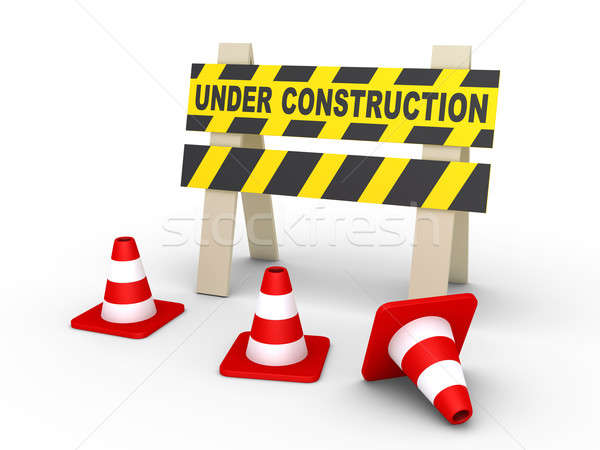 Under construction sign and cones Stock photo © 6kor3dos
