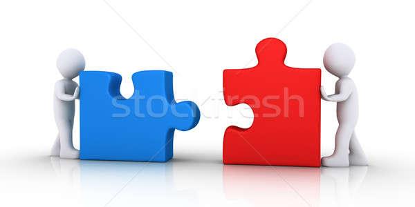 二人 パズルのピース 2 3次元の人々 プッシング 注文 ストックフォト © 6kor3dos