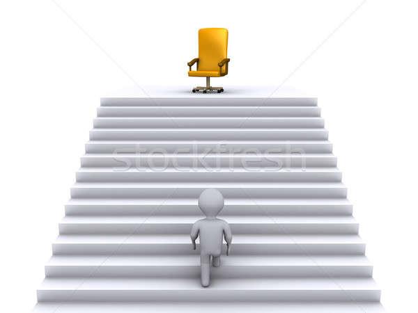 Klimmen trap business positie 3d persoon bereiken Stockfoto © 6kor3dos