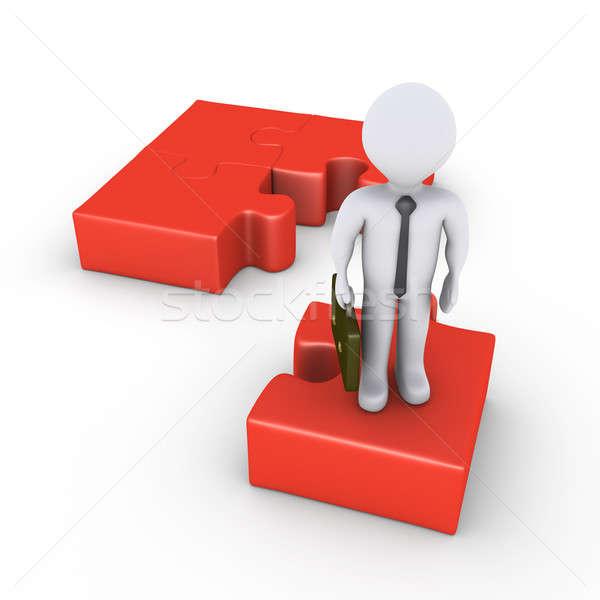 ビジネスマン 提供すること ソリューション 3D 立って パズル ストックフォト © 6kor3dos