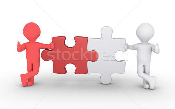 ストックフォト: 2 · パズル · 接続 · 異なる · パズルのピース
