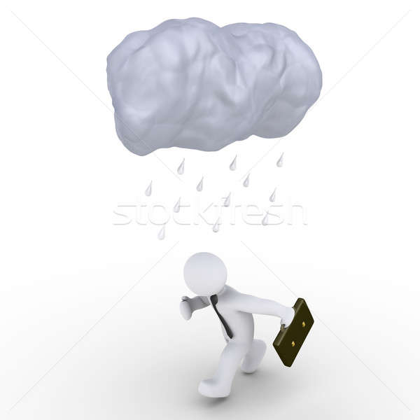 Rain falls on running businessman Stock photo © 6kor3dos