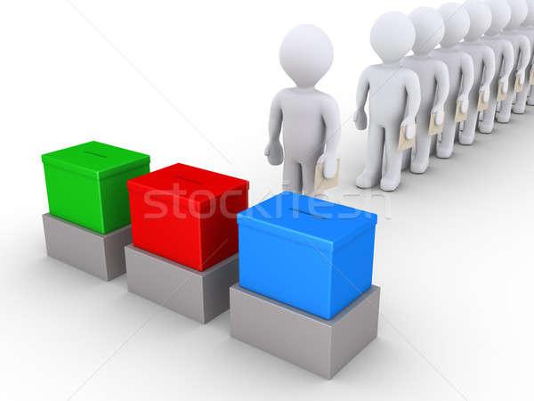 Insanlar hat oy üç 3d insanlar Stok fotoğraf © 6kor3dos