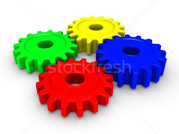 Four colored cogwheels Stock photo © 6kor3dos
