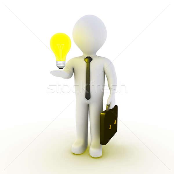 Biznesmen żarówka 3D strony człowiek lampy Zdjęcia stock © 6kor3dos