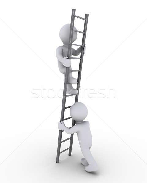 Helfen klettern Leiter 3d Person ein anderer grau Stock foto © 6kor3dos