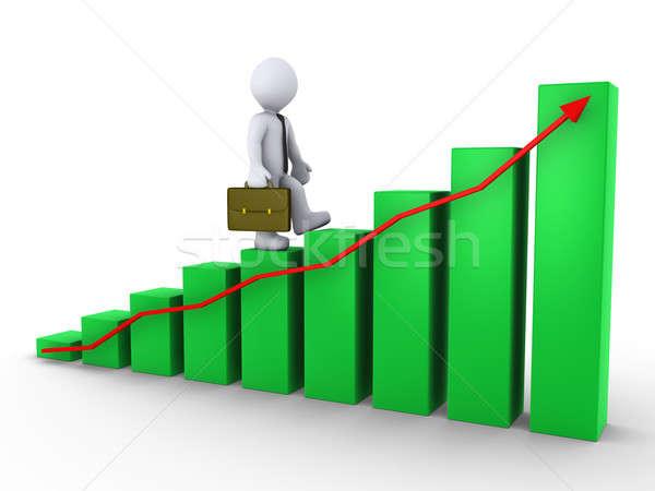 Işadamı yürüyüş grafik 3D yeşil kırmızı Stok fotoğraf © 6kor3dos