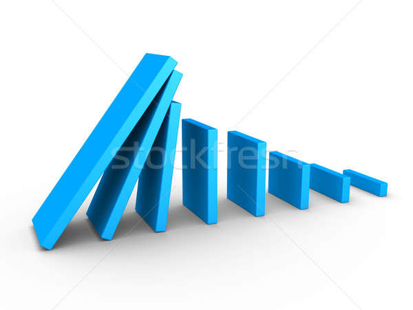 Grafiek domino effect 3D Blauw corporate Stockfoto © 6kor3dos