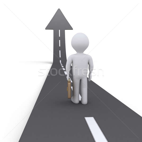 Businessman and street with arrow Stock photo © 6kor3dos