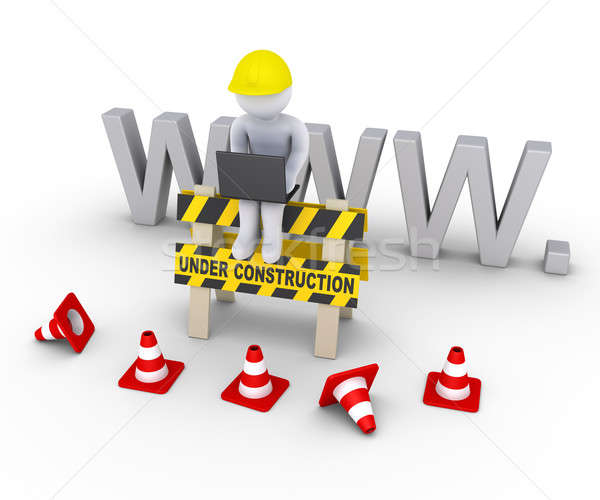 Under construction sign and worker in front of www letters Stock photo © 6kor3dos