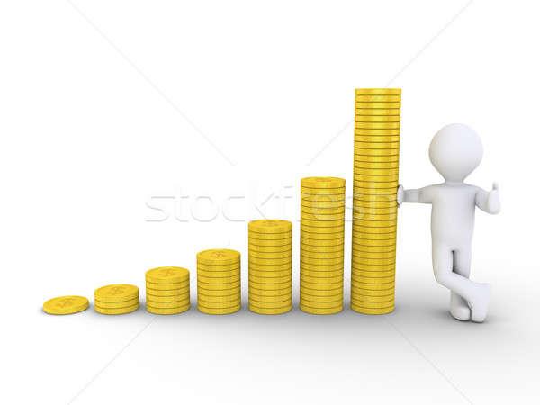 グラフィック グラフ コイン 人 3D ストックフォト © 6kor3dos