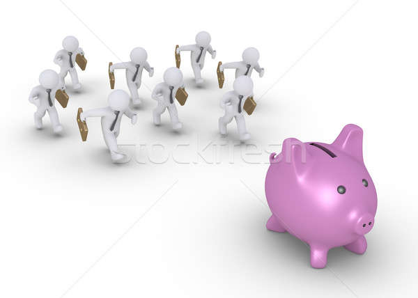 Businessmen chasing pig money box Stock photo © 6kor3dos