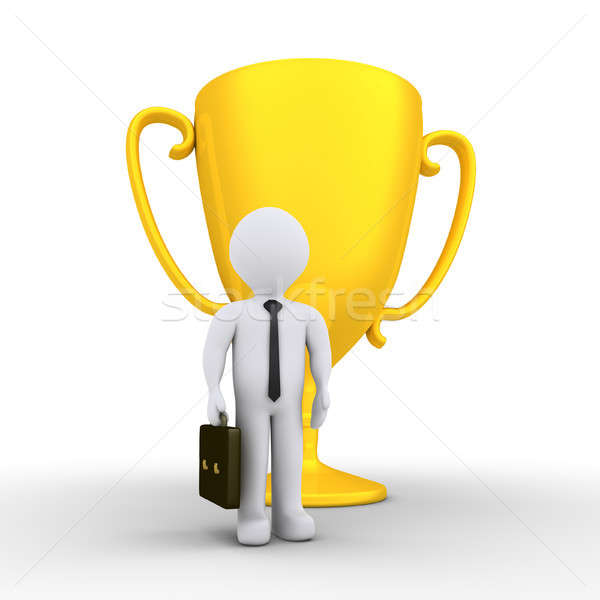 Businessman won the golden cup Stock photo © 6kor3dos