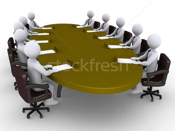 Conférence affaires séance autour ovale table Photo stock © 6kor3dos