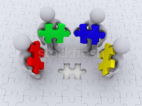 право цвета головоломки завершение четыре 3d люди Сток-фото © 6kor3dos
