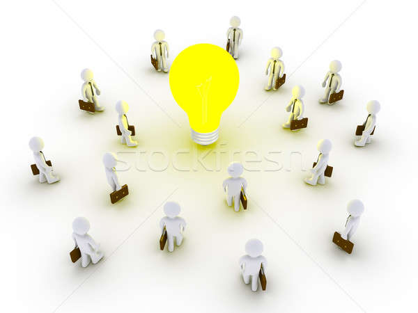 Many businessmen are drawn by light Stock photo © 6kor3dos
