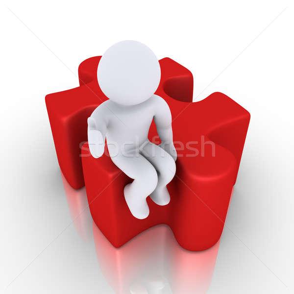 人 座って パズル 作品 3D 幸せ ストックフォト © 6kor3dos