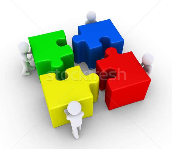 Quattro persone grande pezzi del puzzle quattro la gente 3d spingendo Foto d'archivio © 6kor3dos