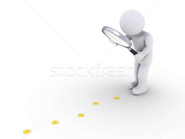 Person with magnifier follows the money Stock photo © 6kor3dos