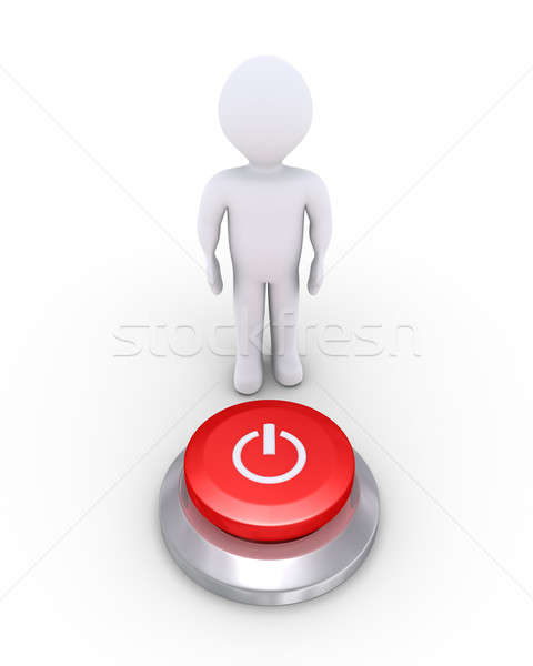 Stock photo: Person with a power button