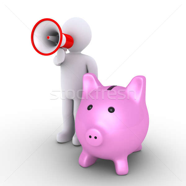 Pig money box and person with megaphone Stock photo © 6kor3dos
