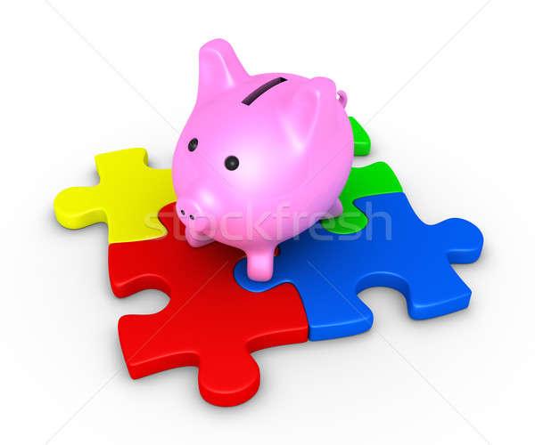Pig money box on puzzle Stock photo © 6kor3dos