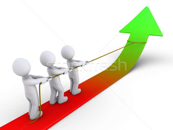 Three people pulling arrow upwards with rope Stock photo © 6kor3dos