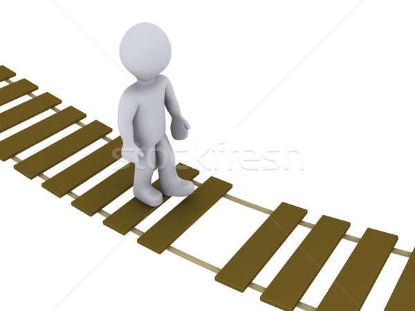 Photo stock: Personne · marche · endommagé · pont · personne · 3d · pont · suspendu