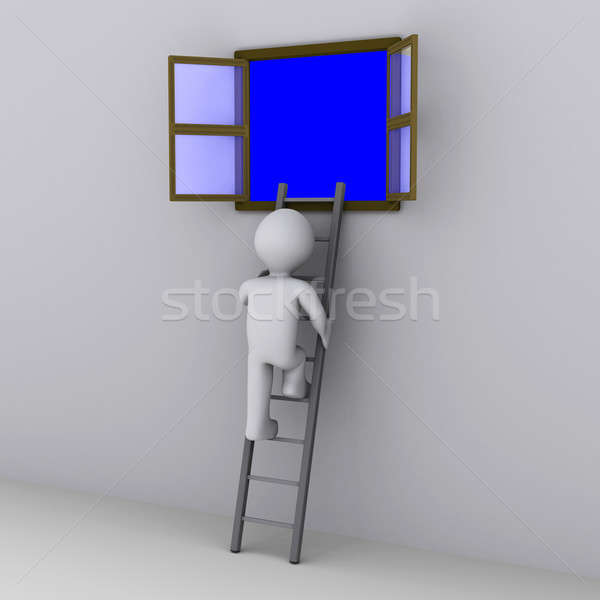 Person climbing ladder to look out of window Stock photo © 6kor3dos
