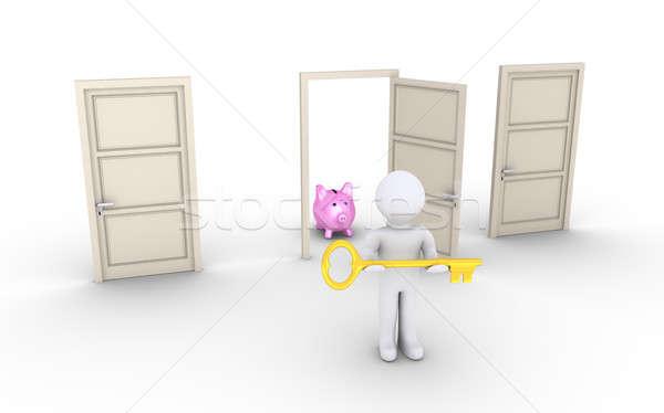 ストックフォト: 人 · キー · 提供すること · アクセス · ドア · 利益
