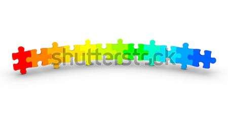 Stockfoto: Verschillend · gekleurd · puzzelstukjes · 3D · kleur · Open