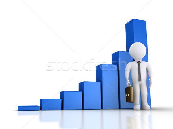ビジネスマン グラフィック グラフ 3D 立って ストックフォト © 6kor3dos