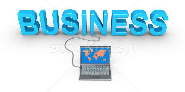Affaires mot portable ordinateur travaux terre Photo stock © 6kor3dos